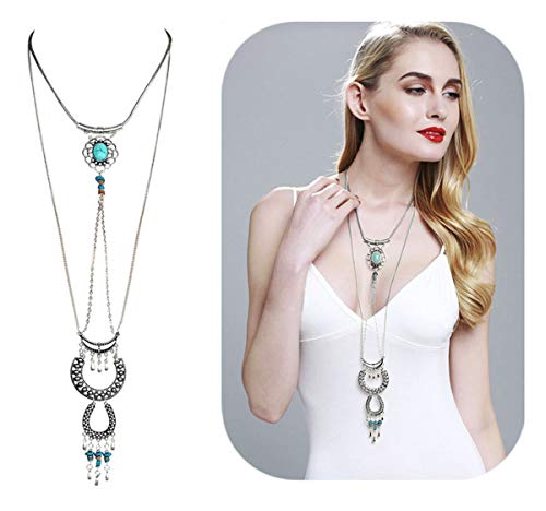 Hanloud Boho Chain Choker Necklace Layer Turquoise Beads Moon Horseshoe Pendant Necklace -