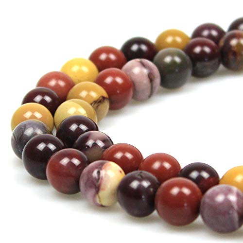 JARTC Natural Stone Beads Moonkaite Jasper Egg Huangshi Round Loose Beads for Jewelry Making DIY Bracelet Necklace (6mm)