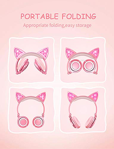 Kids Headphones, Cat Ear Wired Headphones for Girls Boys, Over Ear Headset Foldable Adjustable 85db Volume Limited for iPhone/iPad/PC (Peach)