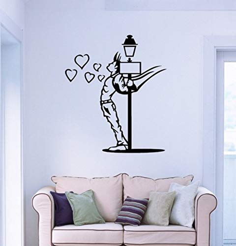 Pbldb Wall Stickers Vinyl Hot Young Guy in Love Hearts for Bedroom 60X72Cm -