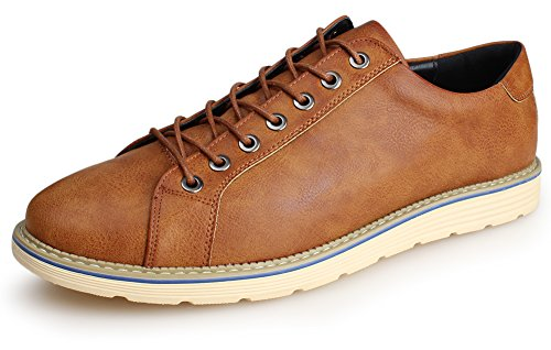 Kunsto Men's Leather Casual Shoes Lace Up US Size 12 Lt Brown-01