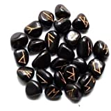 Kala Emporium Natural Gemstone Polished Black Obsidian Runes with Engraved Lettering and Pouch Hand Carved Golden Color Engraving 25runes (Black Obsidian)