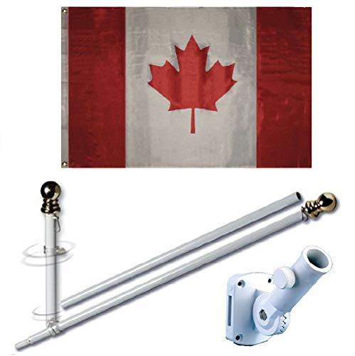 MWS 3'X5' Canada Canadian Premium 210D 3x5 Flag Set (Super Polyester) w/Heavy Duty 6-Feet Spinning Flag Pole Bracket Residential -