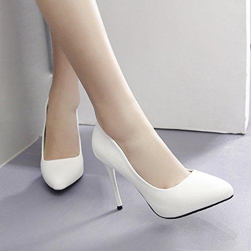 sexy scarpe cuoio alto tacchi spillo a di 11cm 9 col GTVERNH primavera indicato tacco white superficiale consistenza 36 bene con scarpe bocca qwwtFCaO