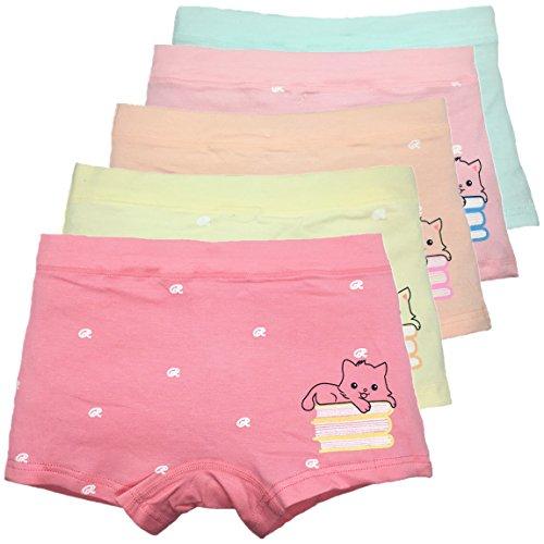 Little Girls Boyshort Underwear Cotton Briefs Panties Set 5 6 Pack (7-9 Years, F) ()