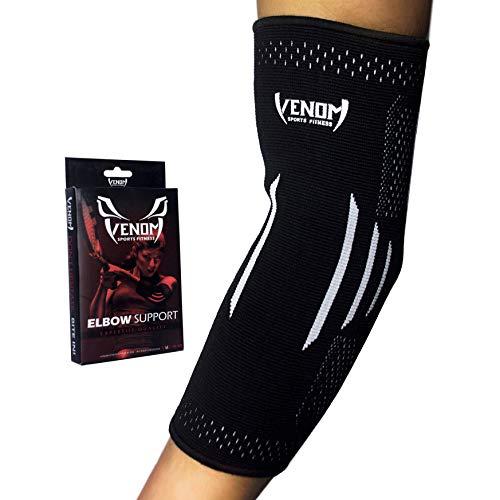 Venom Elbow Brace Compression Sleeve - Elastic Support, Tendonitis Pain, Tennis Elbow, Golfer's Elbow, Arthritis, Bursitis, Basketball, Baseball, Football, Golf, Lifting, Sports, Men, Women (M)