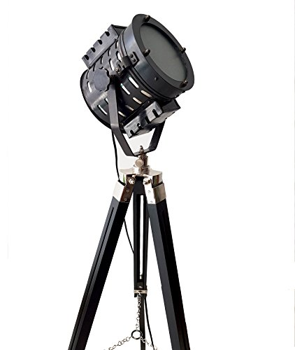 Antique Black Searchlight Retro Marine Floor Lamp with LED Lighting Nautical Wooden Adjustable Tripod Hollywood