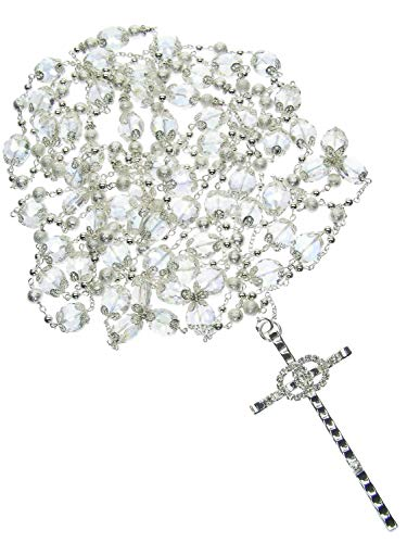 DivaDesigns Crystal beads and Cross Wedding Lasso 112 - Silver Clear/AB