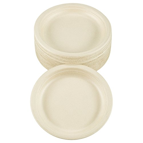 "Benail 150 Pack 7"" 100% Compostable and Biodegradable Plate Made From Bamboo & Sugar Cane Eco-Friendly With Excellent Strength Disposable Plate"