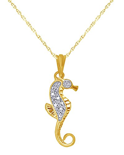 Diamond Accent Seahorse Pendant Necklace in 14K Gold Over Sterling Silver (Clover Diamond Pendant Accent)