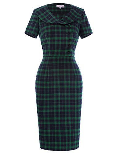 Belle-Poque-Womens-Classic-Dark-Green-Pencil-Dress-Vintage-Tartan-Dress-BP253