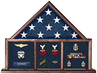 product image for Memorial Flag Case, Three Bay Shadow Box Perfect Size case for a Your Mantle, Holds a Ample Amount of Memorabilia.