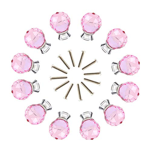 - ANJUU 12 Pcs 30mm Round Shape Crystal Glass Cabinet Knobs with Screws Drawer Knob Pull Handle Used for Kitchen, Dresser, Door, Cupboard (Pink)