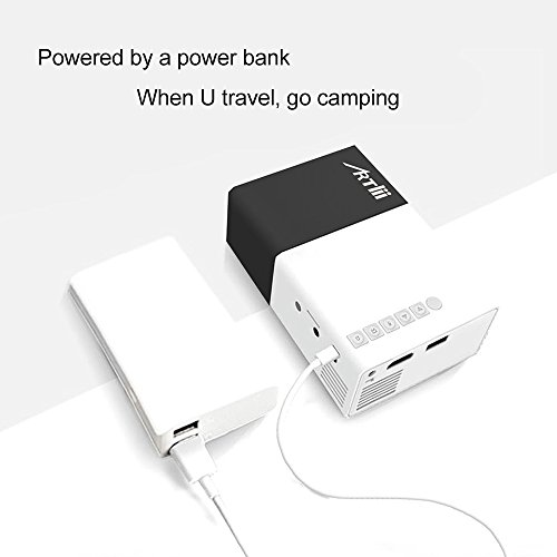 Pico Projector, Artlii Movie iPhone Mini Pocket Laptop Smartphone Projector for Home Cinema Video Party - Black&White by ARTlii (Image #2)