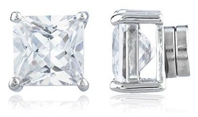 New-Improved-Silvertone-with-Clear-Cz-Square-Magnetic-Stud-Earrings-4mm-to-12mm-Available
