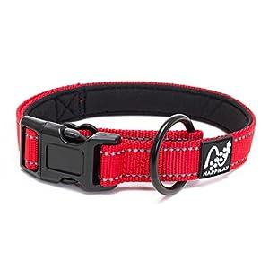 Happilax Collar para Perro Pequeño y Cachorro, Acolchado con Neopreno, Ajustable y Reflectante, Rojo