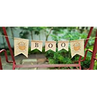 Boo Burlap Banner Halloween Decoration, Fall Decor, Rustic Autumn Decor, Halloween Bunting decoration