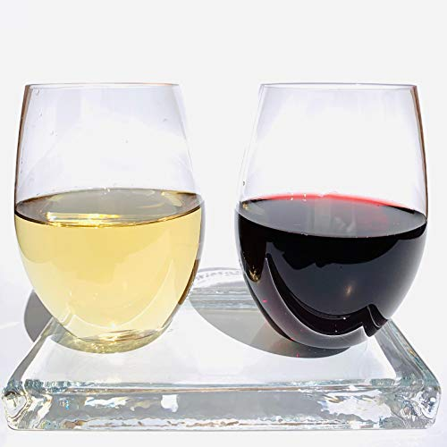 Unbreakable Stemless Wine Glasses by OrangeLeaf Tree   Elegant Durable 100% TRITAN Premium Plastic   16 oz   Indoor & Outdoor Glassware   Dishwasher Safe   BPA-free EA-free   Heavy-Base ()