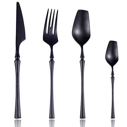 Lemeya 24-Piece 18/10 Stainless Steel Matte Black Silverware Luxury Flatware Cutlery Set Service for 6 Include Knife Fork Spoon Dishwasher Safe (Black) (Flatware Unique)