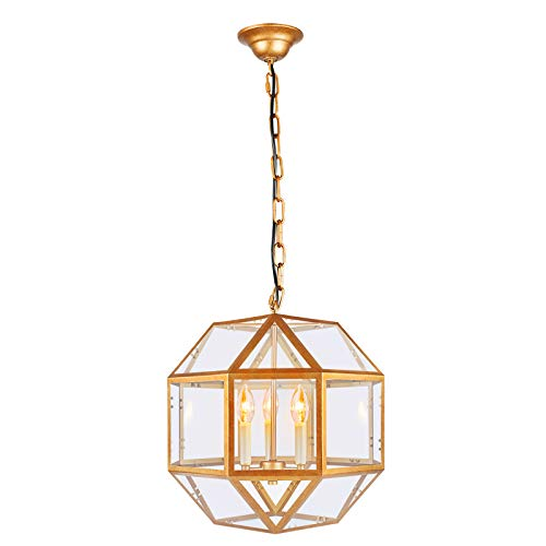 Paragon Home 3-Light Antique Brass Lantern Pendant Lighting with Clear Glass, Industrial Chandelier for Kitchen, Dining Room, Living Room, Hanging Light Fixture, E12 Base (Bulbs Not Included)