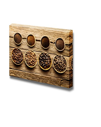Fresh Roast Coffee Beans of Four Different Varieties with Their Corresponding Ground Powder in Small Dishes Wall Decor ation