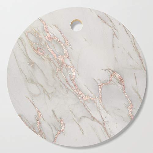 Society6 Wooden Cutting Board, Round, Marble Rose Gold Blush Pink Metallic by Nature Magick by naturemagick