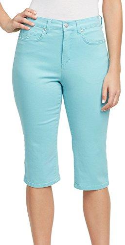 Amanda Capri (Gloria Vanderbilt Womens Amanda Blossom Embroidered Capris 12 Sea Spray Teal Blue)