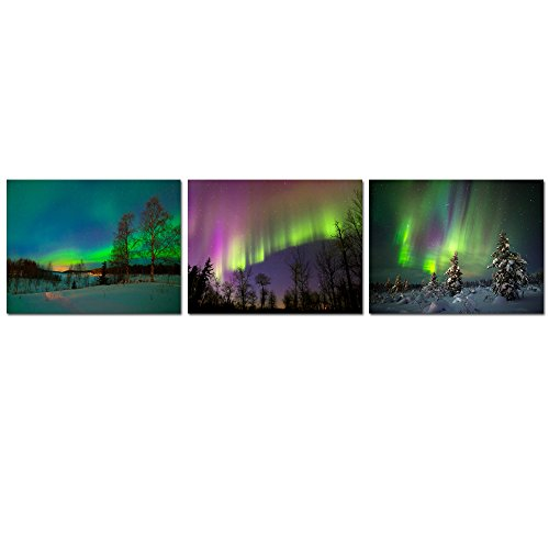 Sea Charm - 3 Piece Canvas Prints Northern Light Canvas Wall Art Green Aurora Borealis Painting Framed Nature Iceland Poster Ready to Hang