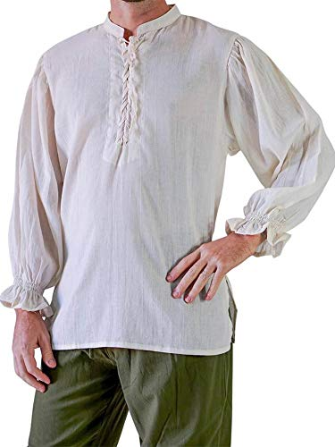 Pxmoda Men's Lace up Stand Collar Medieval Pirate Wide Cuff Costume Shirt Blouse Tops Plus Size (3XL,White) (Shirt Wide Cuff)