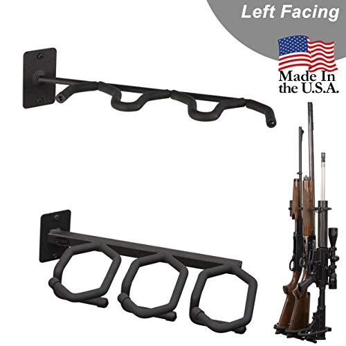 Hold Up Displays - Gun Rack and Rifle Storage Holds 3 Shotguns or Rifles Facing Left for Winchester Remington Ruger Firearms and More - Heavy Duty Steel - Made in USA