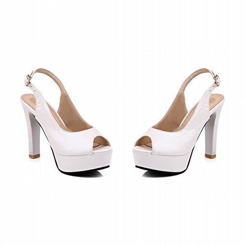 Charm Foot Womens Elegant Peep Toe Platform Buckle High Heel Sandals White dtI9Fo