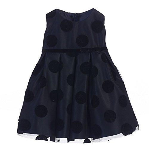 Sweet Kids Baby Girls Navy Black Polka Dot Flocked Mesh Christmas Dress 24M