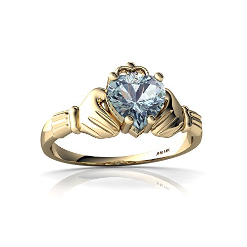 14kt Yellow Gold Aquamarine and Diamond 6mm Heart Claddagh Ring - Size 4 ()