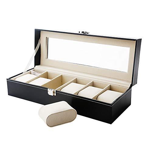 🥇 Caja de Relojes Estuche para Relojes y joyeros con 6 Compartimentos