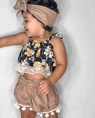 WANGSAURA 3 Pcs Neugeboren Prinzessin Sommer S/äugling Kleinkind Baby M/ädchen Blumen /Ärmellos Spielanzug Outfits Kleidung Set Overall Kleider Set mit Stirnband 0-24 Monat