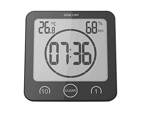 Digital Bathroom Shower Wall Clock Timer with Alarm, Waterproof for Water Spray, Touch Screen Timer, Temperature Humidity Display with Suction Cup Hanging Hole (Black)