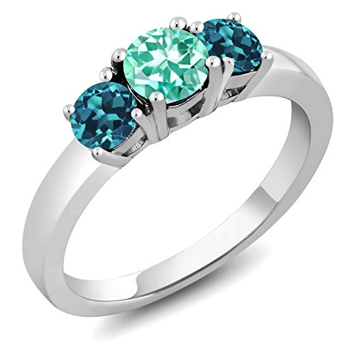 Gem Stone King 1.16 Ct Round Blue Apatite London Blue Topaz 925 Sterling Silver Ring (Size 7) ()