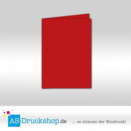 Faltkarte Doppelkarte - Rot - Samt satiniert 25 Stück DIN A5 B0794XPXX2 | Klein und fein