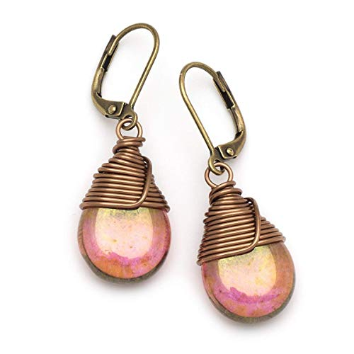 Lustrous Copper Pink Czech Glass Wire-wrapped Drop Bronze Lever-back Earrings 1.4 Inches