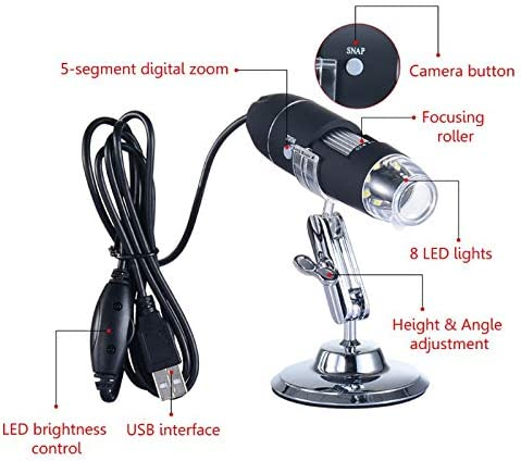 1600X USB Digital Microscope Camera 8 LED Electronic Magnifier with Professional Metal Stand W329 Ants-Store