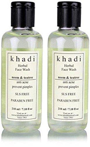 Khadi Neem & Teatree Face Wash- SLS & Paraben Free - 210 ml (Pack of 2)