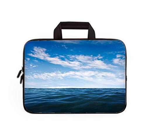Double Zipper Laptop Bag,Deep Ocean,13 inch Canvas Waterproof Laptop Shoulder Bag Compatible with 11.12.6