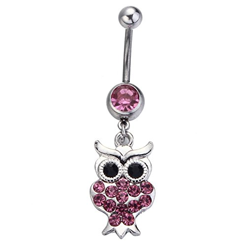 Bling Stars Dangle Belly Button Ring Owl Clear Crystal Navel Ring