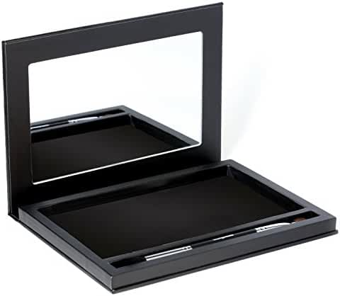Large Black Empty Magnetic Makeup Palette with Mirror: Organizer Case for Eyeshadow, Blush, Bronzer Pans, Extra Deep, BONUS Makeup Brush Included