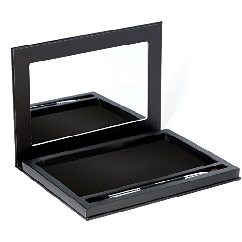 Magnetic Eyeshadow Makeup Palette Empty - Large Black Organizer Pallete Case with Magnet Stickers, Mirror for Eye Shadow, Blush, Bronzer Pans, Extra Deep for Dome Pans, Bonus Cosmetic Brush Included
