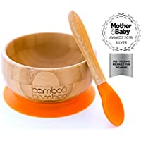 Baby Suction Bowls and Matching Spoon Set, Suction Stay Put Feeding Bowl, Natural Bamboo (Orange)