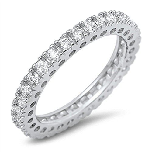 Eternity Stackable Clear CZ Beautiful Ring .925 Sterling Silver Band Size 7 by Sac Silver