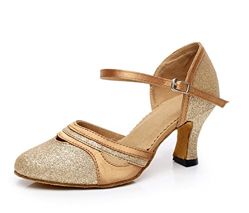 Pumps Wedding Ballroom Latin Womens Glitter Dance Comfortable GQJ7012 Gold Minitoo wPv81qI