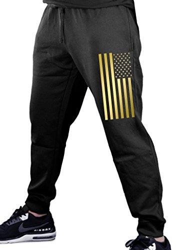 Reflective Gold US Flag Men's Black Fleece Gym Jogger Sweatpants Small Black