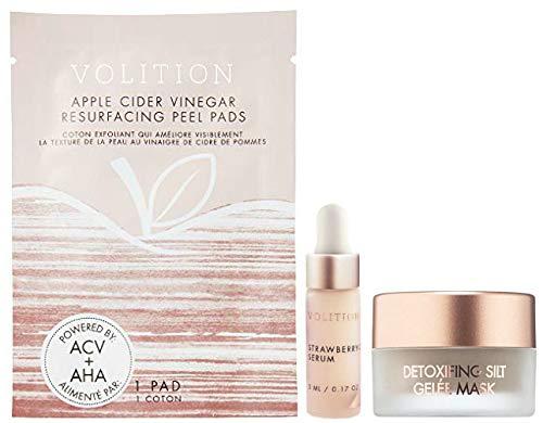 (Volition Beauty Strawberry C Serum, Apple Cider Vinegar Resurfacing Peel Pad, Detoxifying Silt Gelee Mask, 3 Piece Set)